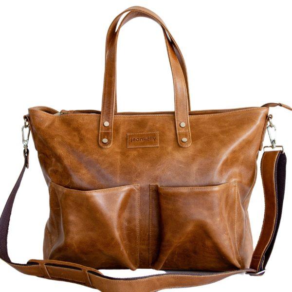 jeankelly butterscotch leather 2 pocket shopper