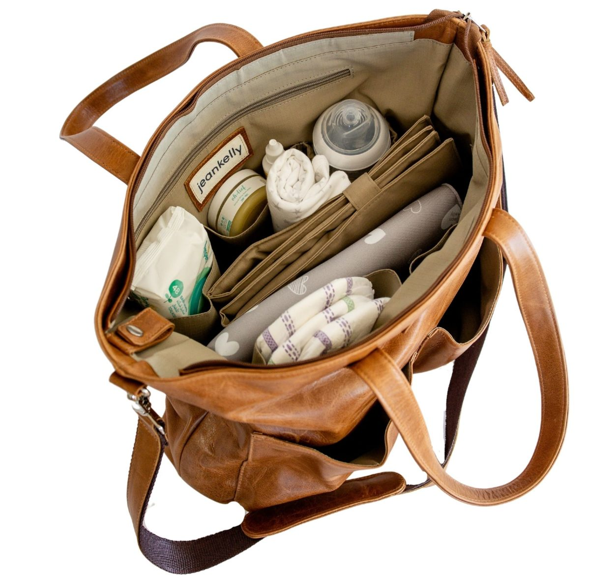 jeankelly butterscotch 2 pocket leather baby bag inside