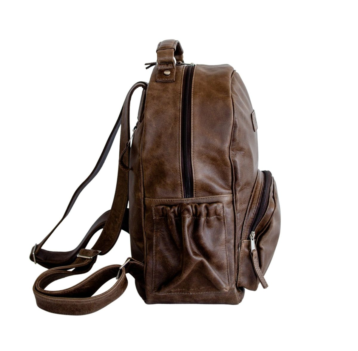 jeankelly coffee leather original backpack side
