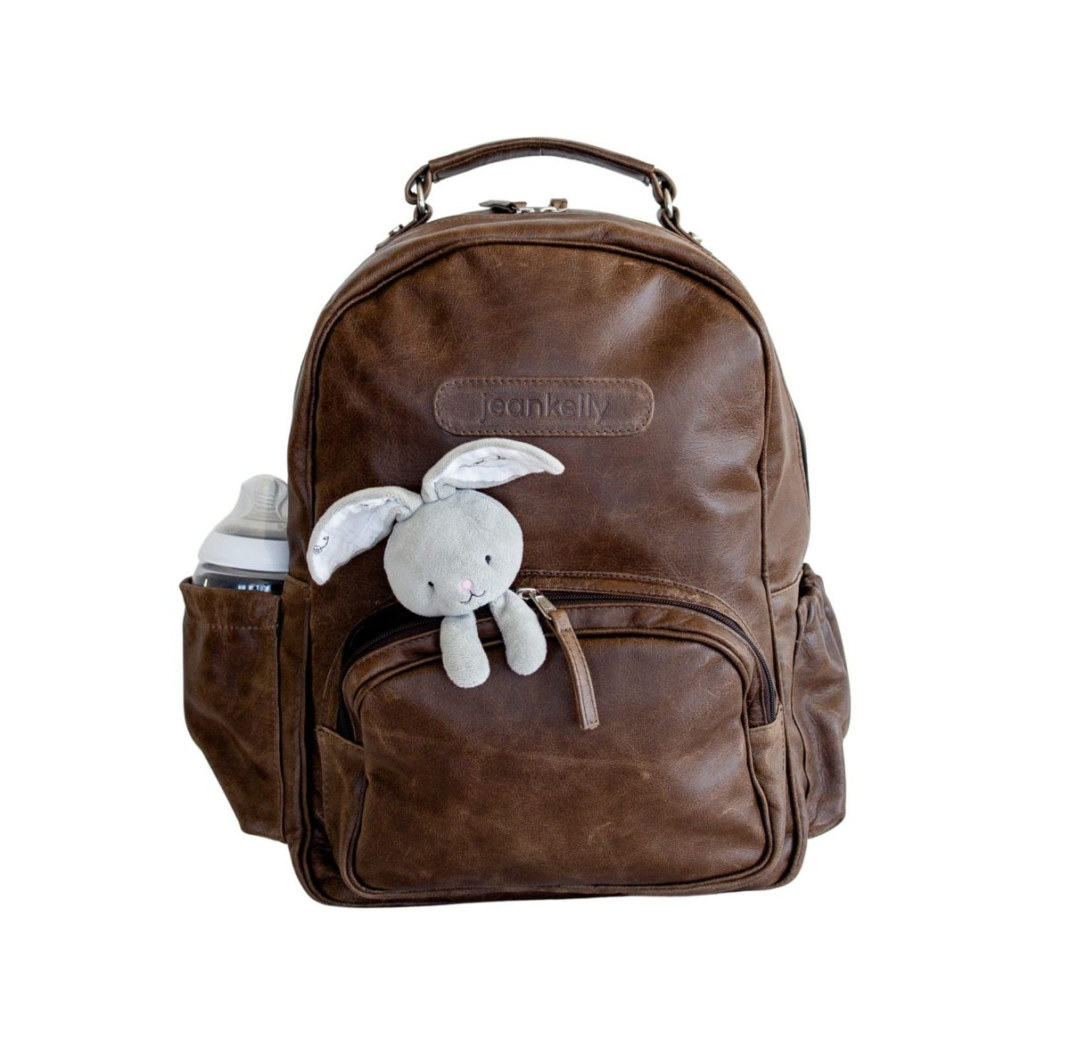 jeankelly coffee leather original backpack front