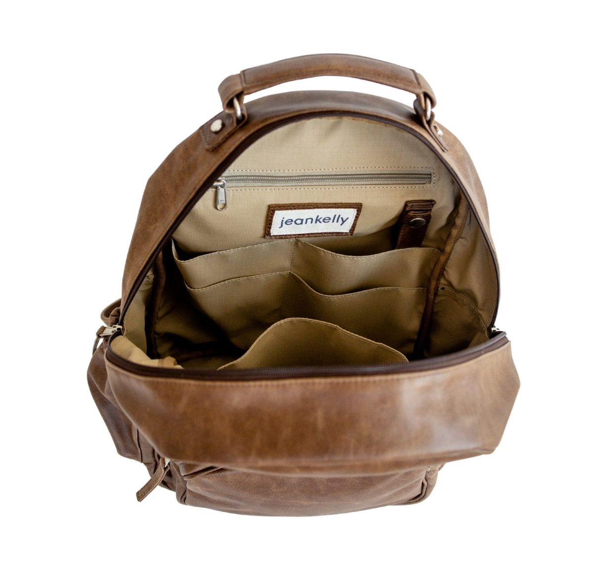 jeankelly coffee leather original backpack inside empty