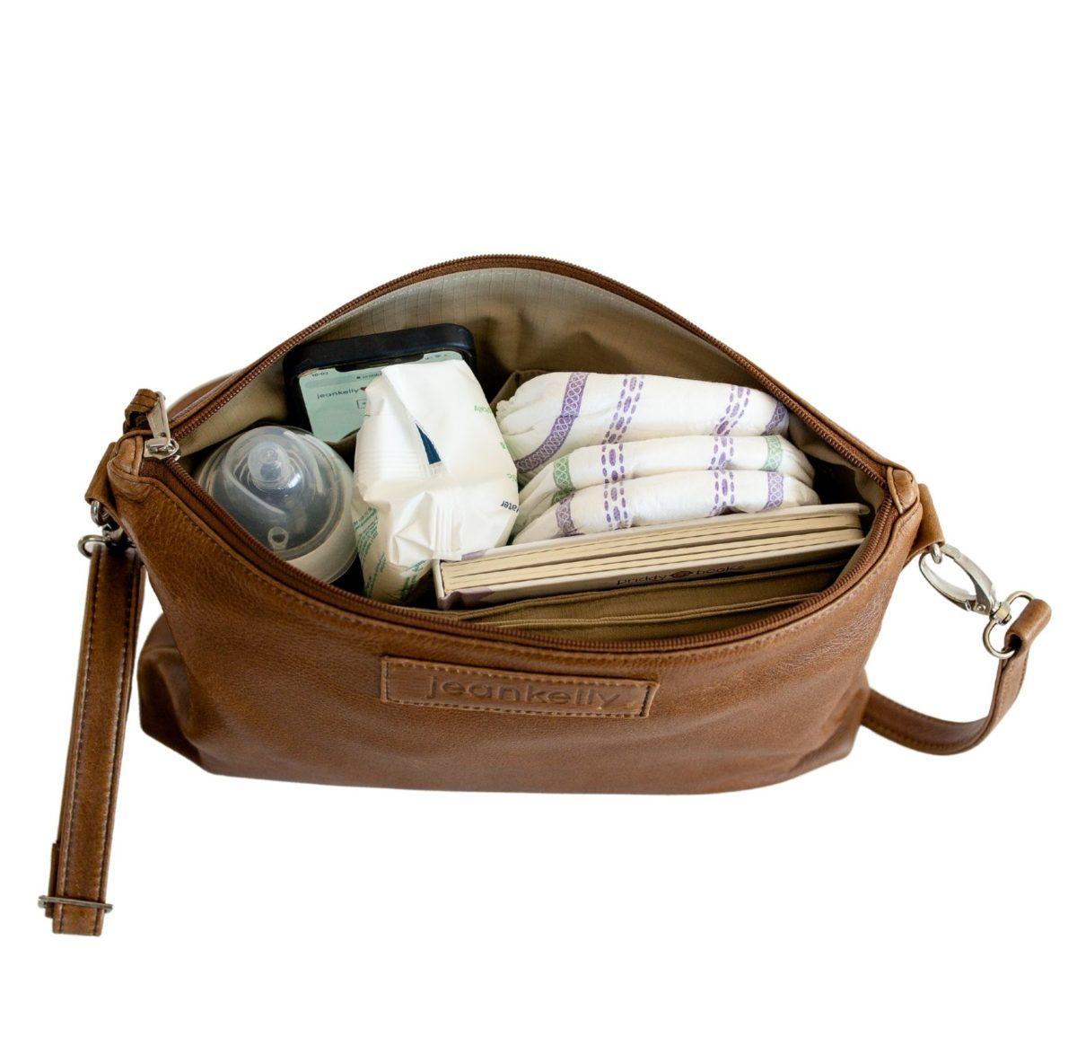 jeankelly fudge sling baby bag inside packed